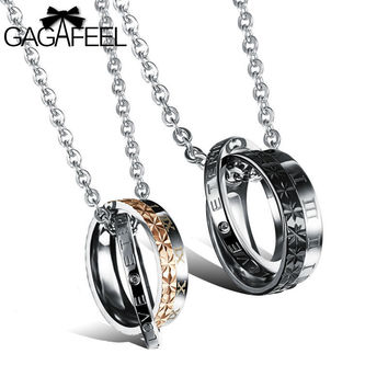 Fashion Lovers Jewelry Titanium Stainless Steel Charm Double Circle Pendants Couple Necklaces Valentine's Day Love Gifts ON456