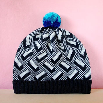 3D Blocks Knit Hat, Toddler Hat Geometric Pattern, Wool Beanie, Black & White with Multi Color Pom Pom
