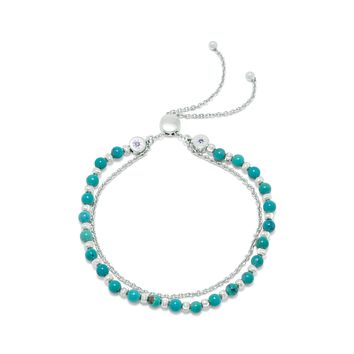 Sterling Silver Double Strand Reconstituted Turquoise Bolo Bracelet