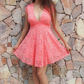 Love You Always And Forever Peach Lace Skater Dress