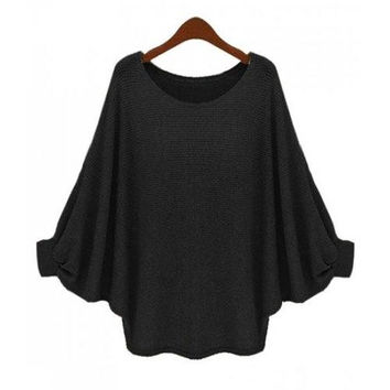 Fresh Style Solid Color Batwing Sleeve Loose Pullover Sweater For Women