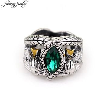 Lord Of The Aragorn's Ring of Barahir Retro Antique Silver Green Crystal Ring For And Men Fashion Jewelry