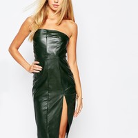 Missguided Strapless Leather Look Pencil Dress