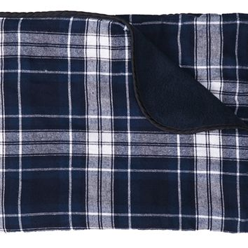 Boxercraft Classic Navy and White Plaid Blanket