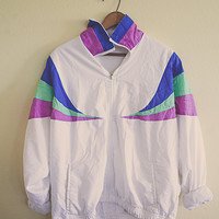 80's 90's Vintage  Windbreaker Purple Green Blue White Parachute Coat Jacket Hipster Full Zipper Front Size Large 42 Fully Lined