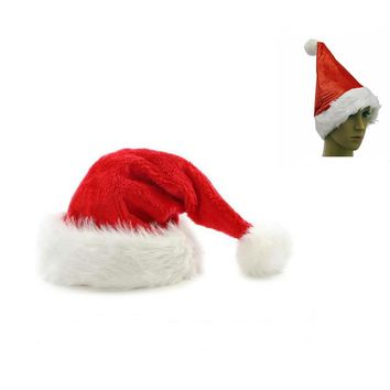 2017 Christmas Hat With White Fur Trim Red Santa Hat for women man beanies Christmas Party Costume Accessory Fancy Dress cap