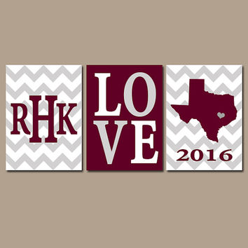 Texas Maroon Gray Chevron Custom Family College Monogram Initial State LOVE School University Gift Wedding Set of 3 Wall Art Canvas or Print