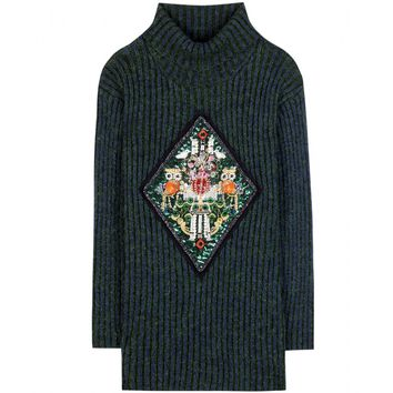 mary katrantzou - metallic-knit sweater with appliqué