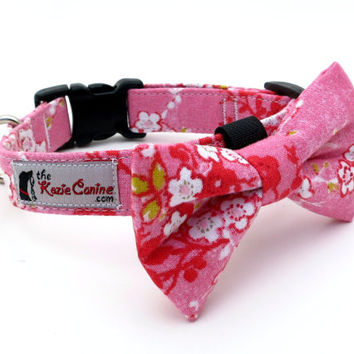Pink Cherry Blossom Patterned Dog Collar (Matching  Dog Bow Tie Available Separately)