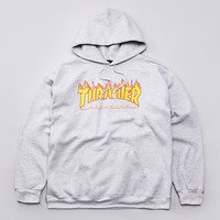 Flatspot - Thrasher Flame Logo Hooded Sweatshirt Heather Grey