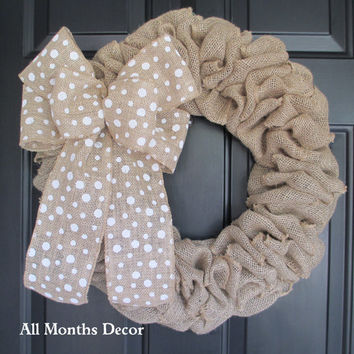 Burlap Wreath with White Polka Dot Burlap Bow, Country, Fall Autumn Winter, Thanksgiving, Year Round, Fall, Porch Door Decor