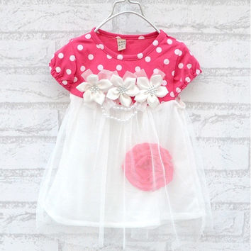 Baby Kids Girls Bubble Flower Lace Ball Gown Princess One-Piece 45208fa46c19