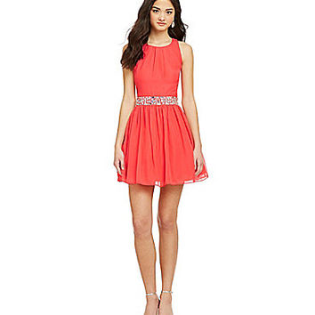 B. Darlin Tie-Back Jewel-Waist Dress - Hot Guava