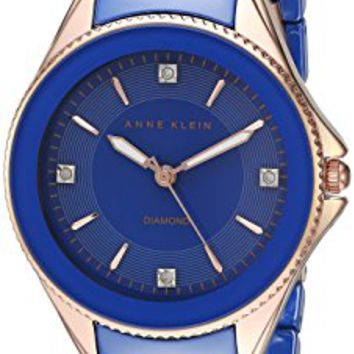 Anne Klein Women's AK/2390RGCB Diamond-Accented Rose Gold-Tone and Cobalt Blue Ceramic Bracelet Watch