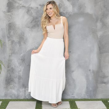 Flow With Me Maxi Skirt in Ivory