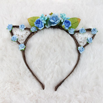 Sky Blue Floral Lace Cat Ears - Flower Lace Cat Headband - Cat Ears Headband - Kitty Ears - Coachella Festival - Kitten play Ears - Petplay