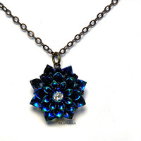 Glitter Mum Necklace. Holiday Jewelry. Navy, Purple, and Teal Flower Necklace by Liz Hutnick