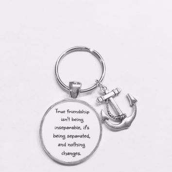 Best Friends True Friendship Long Distance Sisters Anchor Gift Keychain