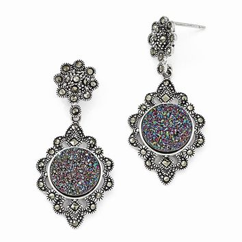 Sterling Silver Marcasite Druzy Dangle Post Earrings
