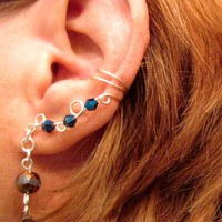 Non Pierced Cartilage Cuff - Seer - Glass Crystal & Copper Disc Ear Cuff Color Choices