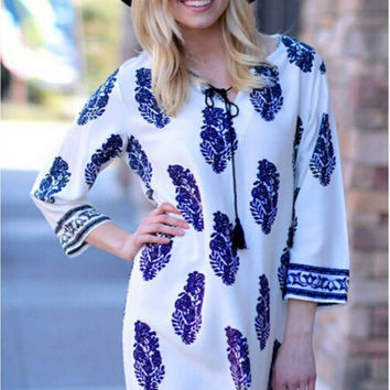 Long Sleeve Tile Print Mini Dress