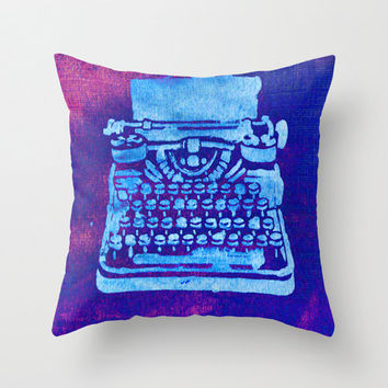 Purple Pillow Cover - throw pillowcase cute home decor living room decorum typewriter stencil neon bright dark 16x16 inches