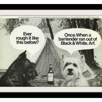 "1974 Black & White Scotch Ad ""Camping"" Vintage Advertisement Print"
