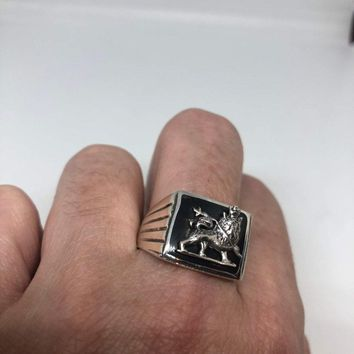Vintage 1970 Gothic Sterling silver Lion Mens Ring