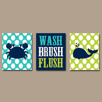 Navy Lime Bathroom Wall Art Canvas Or Prints Kid Bathroom Rules Wash Brush  Flush Crab Whale