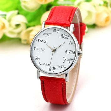 Unique Girl Casual Watch PU Leather Band Quartz Watches Mathematical Symbols Dial Analog Wristwatch Student Gifts LL@17