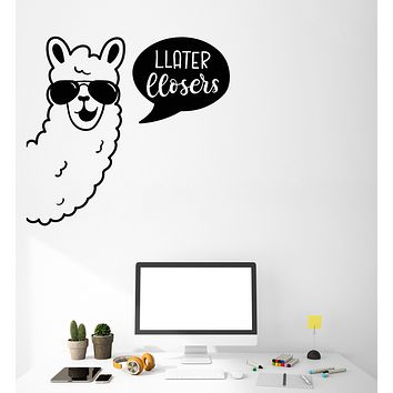 Vinyl Wall Decal Funny Llama Sunglasses Words Later Loser Stickers (3519ig)