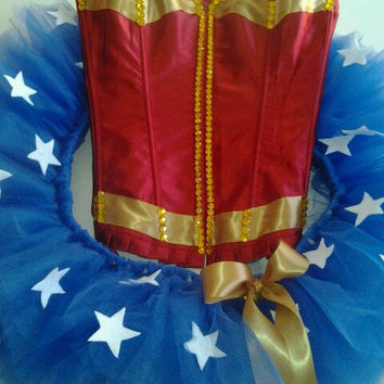 Wonder Woman Custom Corset Outfit/ Made to order/ Rave outfits/ Rave bras