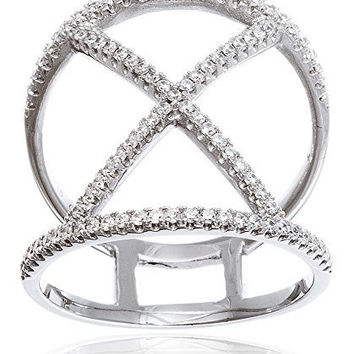 925 Sterling Silver Bordered X Ring with Cz Stones - Sizes 6, 7, or 8