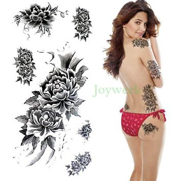 Waterproof Temporary Tattoo Sticker brown peony flower women's body art tatto stickers flash tatoo fake tattoos for girl