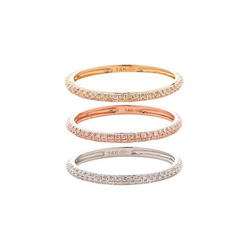 19Fifth Three Pave Diamond Banded Rings | Shop IntermixOnline.com