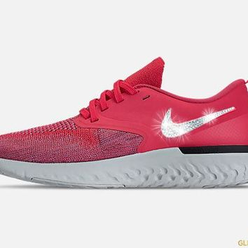 Nike Odyssey React Flyknit 2 + Crystals - Ember Glow Red Orbit Plum Dust 3efd5d890
