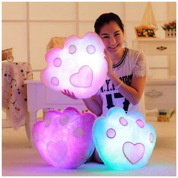 Colorful Bear Paw LED Cushion Luminous Decorative Pillows Emoji Pillows Flashing Cushions Home Decor Smiley Face Pillow Cojines