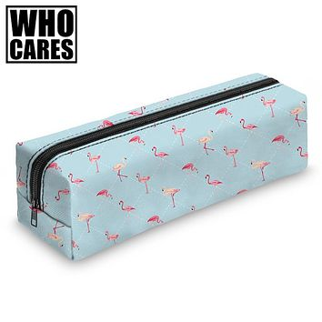 Who Cares Arizona Flamingos Lovely Round Pencil Cases Women Makeup Bags Kids Bags School Pen Bags Zipper Pouch Fresh Simple Bag