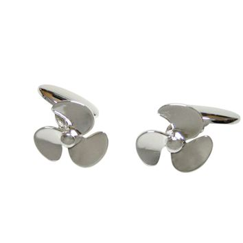 Silver Toned Chain Nautical Propellor Cufflinks