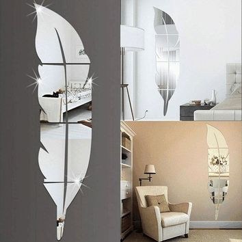 3D Feather Mirror Wall Sticker Room Decal Mural Art DIY Home Decoration
