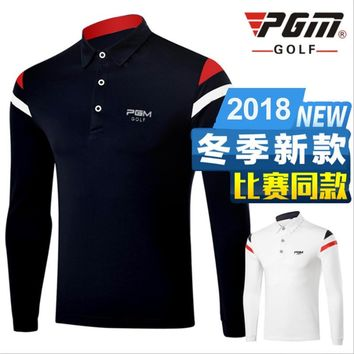 PGM Thicken Golf Training T-Shirt Men's Autumn Breathable Nylon Lapel Collar Brand Polo Solid Color Sports Shirt Free Shipping