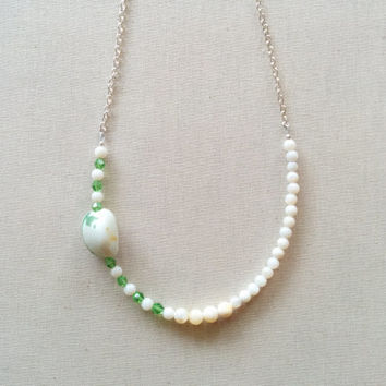 White Bead Necklace; Green Bead Necklace; Silver Chain; Beaded Chain; Minimal Jewelry; Unique Handmade Gift, 18 Inch Chain