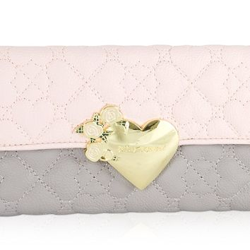 Betsey Johnson Heart Quilted Flapover Bifold Clutch French Wallet Purse - Blush Grey Mutli
