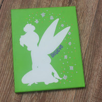 "Hand Painted Canvas - Disney Silhouette - Tinkerbell ""Believe"""