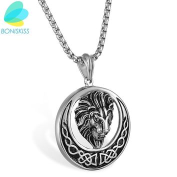 Boniskiss Hip Hop Lion Head Pendant Stainless Steel Statement Necklace For Men Punk Male Jewelry Colar Masculino Gift