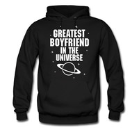 GREATEST BOYFRIEND IN THE UNIVERSE WHITE PRINT hoodie sweatshirt tshirt