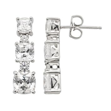 Emotions Sterling Silver Linear Drop Earrings - Made with Swarovski Cubic Zirconia (White)