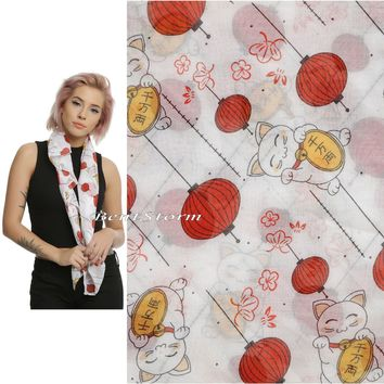Licensed cool Lucky Cat & Orange Lanterns Maneki-Neko All Over Print Sheer Viscose Scarf NEW