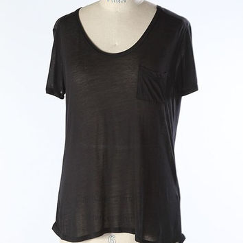 V Neck Pocket Tee in Black