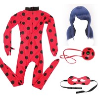 Kids Adult Fantasia Spandex Ladybug Miraculous Cosplay Costume Marinette Bag Eye Mask Wig Girls Lady Bug Halloween Costumes